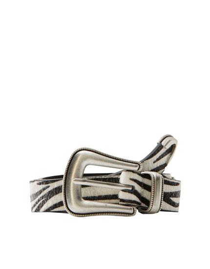 Zebra cowboy belt