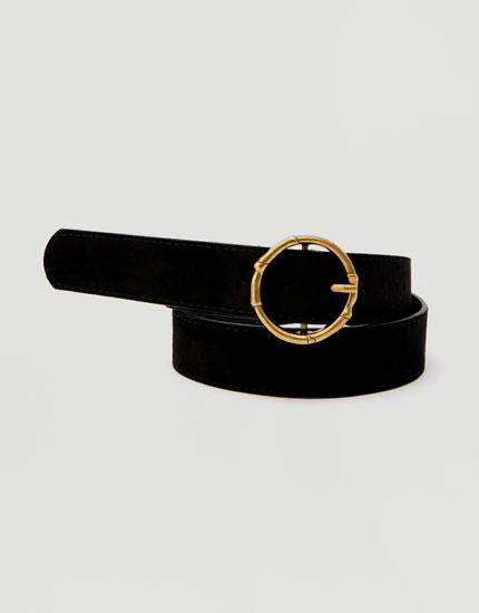 Cinturón hebilla redonda dorada