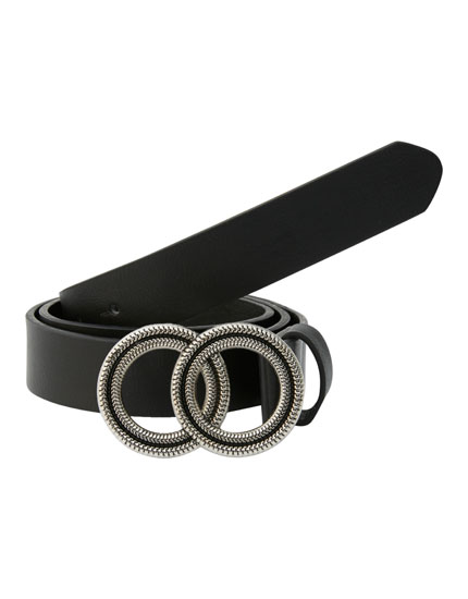 Black belt with double buckle