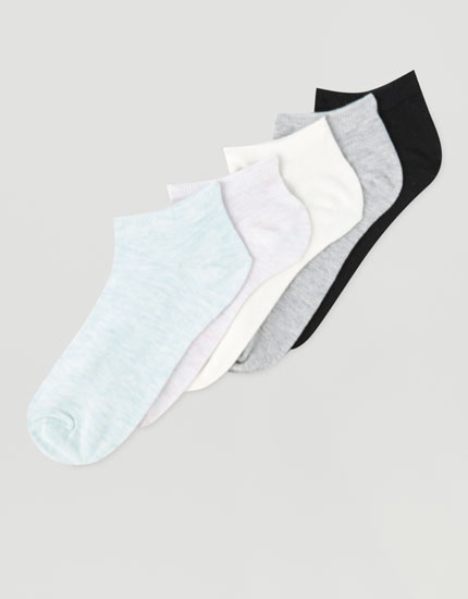 Pack of 5 plain ankle socks