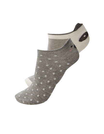 2-pack of animal motif ankle socks