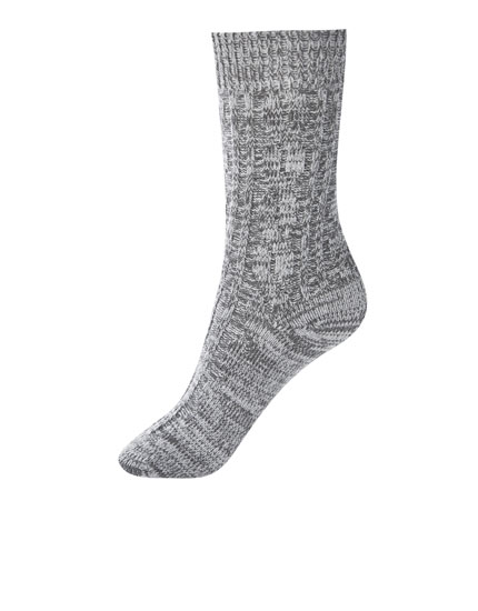 Cable-knit sporty socks