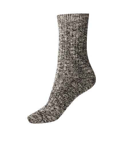 Coloured heathered long socks