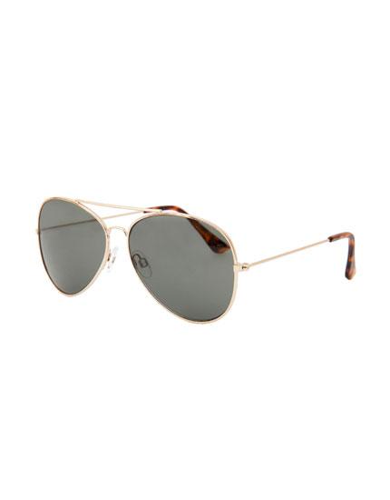 Gafas sol aviador dorado