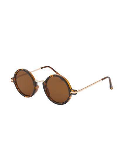Okrągłe rogowe okulary przeciwsłoneczne