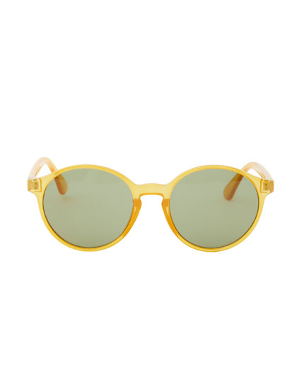 Round yellow sunglasses with resin frame