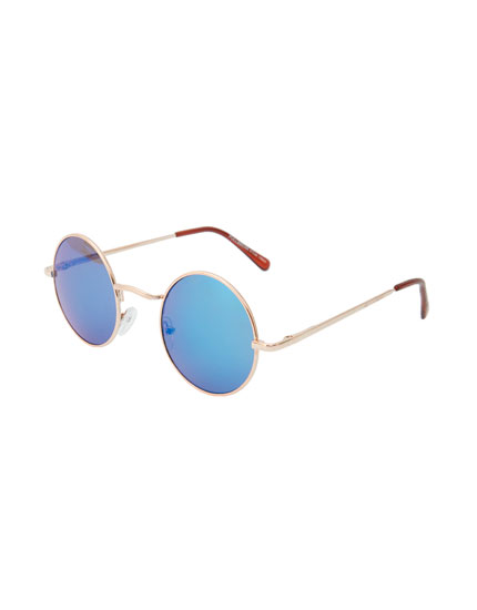Round blue lens sunglasses