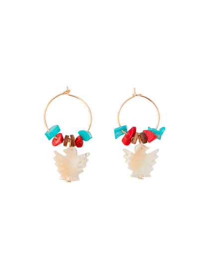 Faux mother-of-pearl bird earrings
