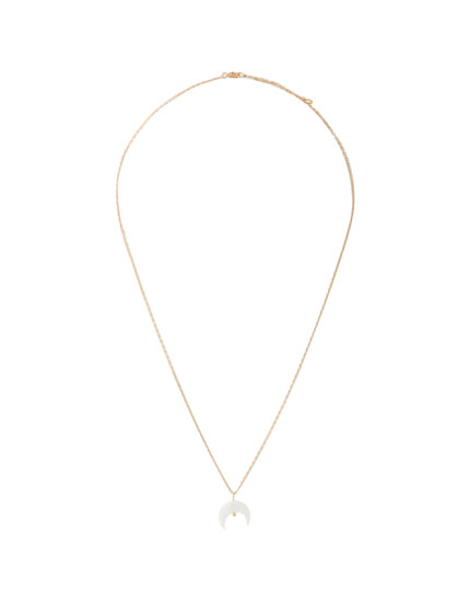 Faux mother-of-pearl half-moon necklace