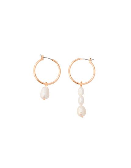Pendientes asimétricos perlas