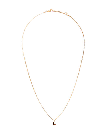 Gold-toned moon pendant necklace
