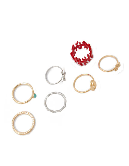 7-pack of coral and seashell rings
