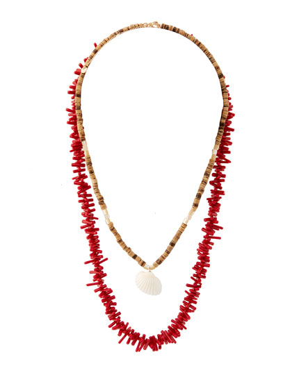 2-pack of coral necklaces with seashell