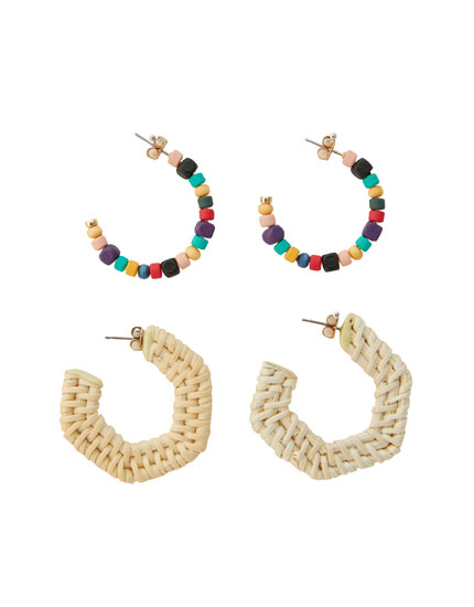 2-pack of wicker hoop earrings