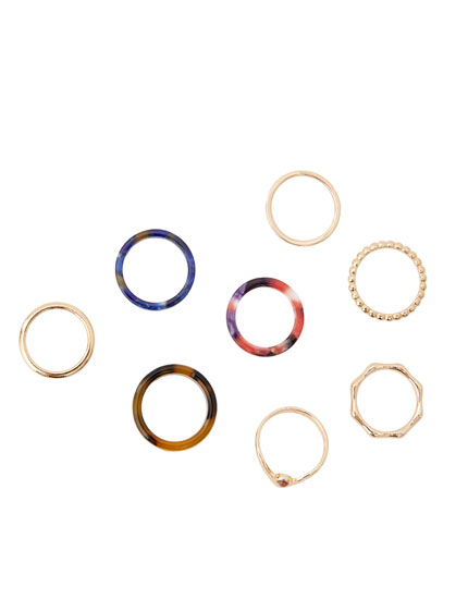 8-pack of multi-shaped rings