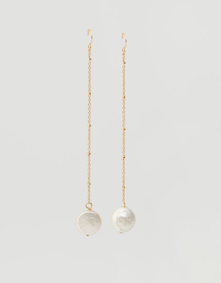 Faux pearl chain earrings