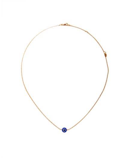 Metallic eye pendant necklace