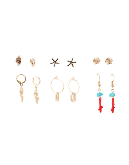 Pack of 6 coral earrings