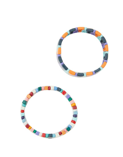 Pack de 2 pulseiras multicoloridas