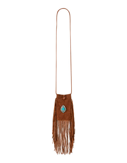 Belt with fringe and turquoise detail