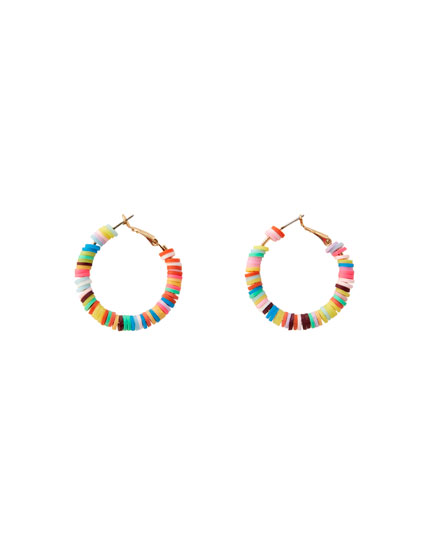 Colourful bead hoop earrings