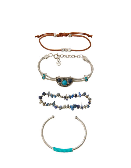 4-pack of turquoise bracelets