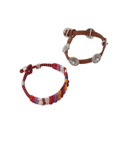 Pack 2 pulseras turquesa macramé