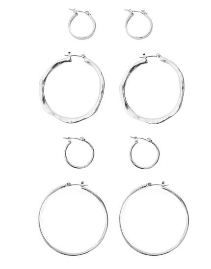 Pack de 4 argolas básicas metalizadas