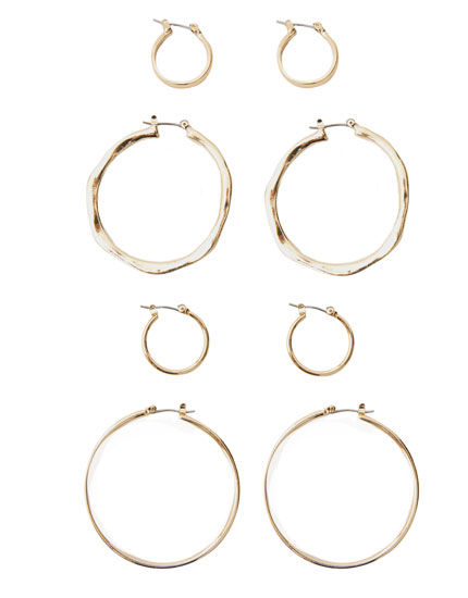 4-pack of basic metallic earrings