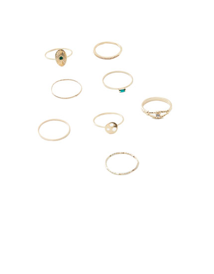 Pack of 8 horoscope sign rings