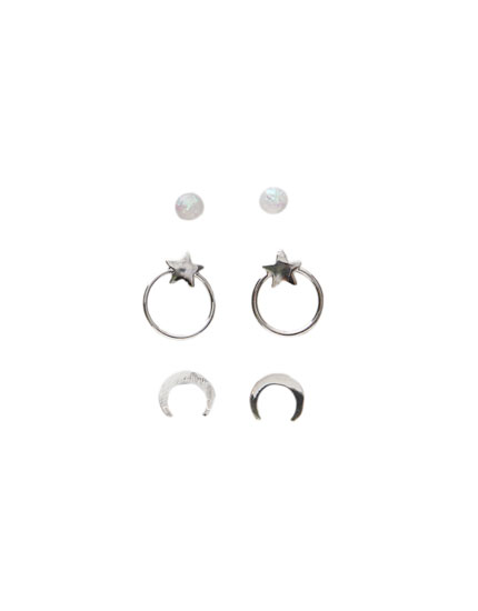 Pack of 3 pairs of moon earrings