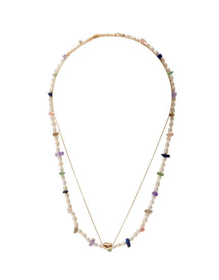 Lot de colliers perles pierres