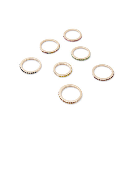 Pack of 7 shiny rings