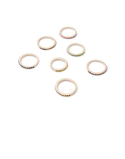 Pack 7 anillos brillos