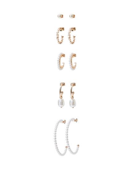 5-pack of pearl bead earrings