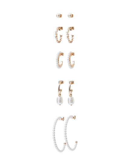 5-pack of pearl bead earrings