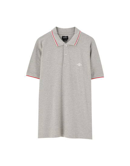 Ribbed piqué polo shirt