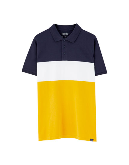 Polo manches courtes color block