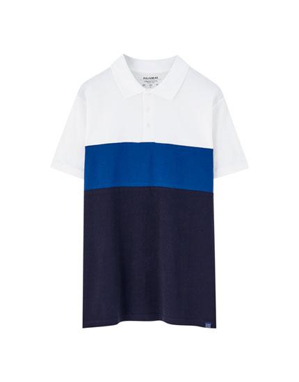Polo manches courtes color block