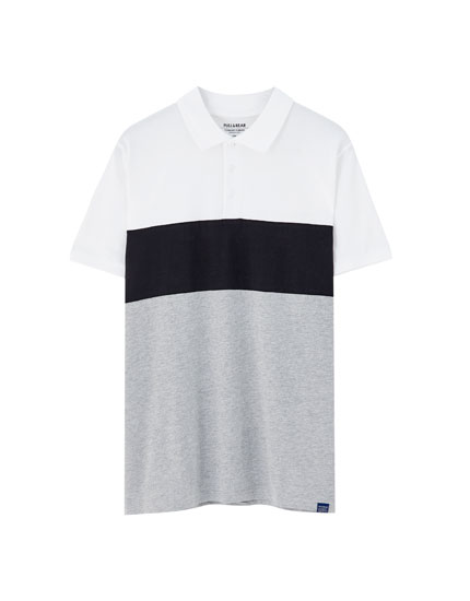 Short sleeve colour block polo shirt
