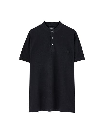 Stand-up collar piqué polo shirt