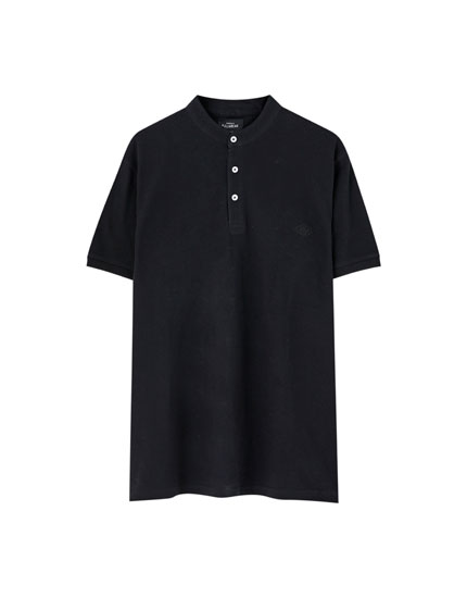 Stand-up collar piqué polo shirt
