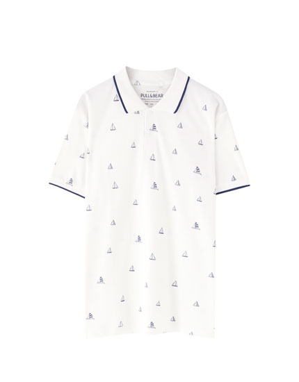 Piqué polo shirt with contrast print