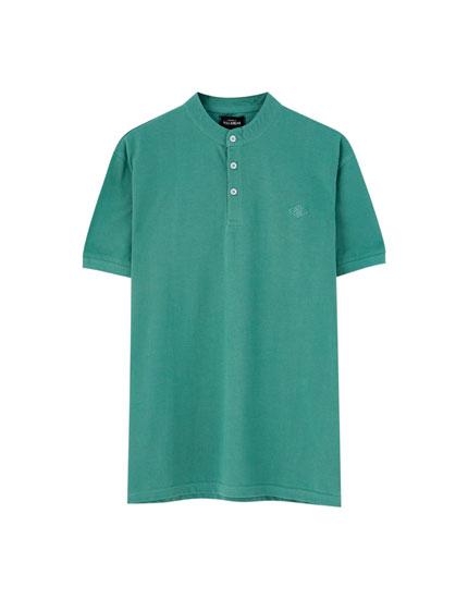 Koszulka polo z piki ze stójką
