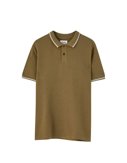 Polo shirt with ribbed collar