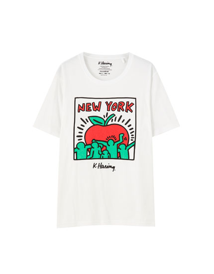 Haring apple print T-shirt