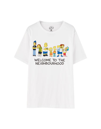 White The Simpsons short sleeve T-shirt
