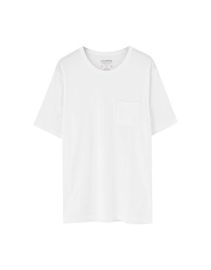 Camiseta bolsillo acabado lavado