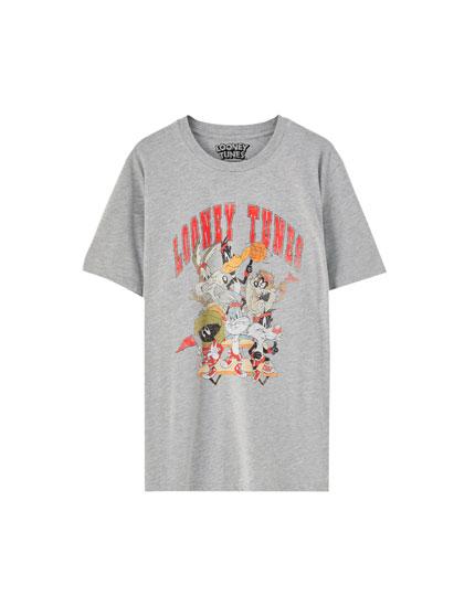 Camiseta Looney Tunes logo gris