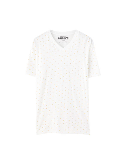 White T-shirt with turtle print